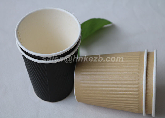 12oz Insulated Corrugated Paper Coffee Cups For Restaurants / Cafe Shop