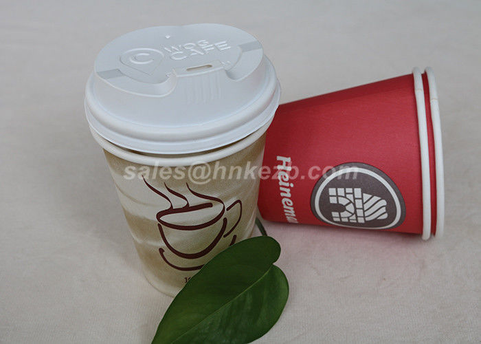 Colored Printed Singel Wall Paper Cups 12oz 380ml Coffee Cups Disposable With Lids
