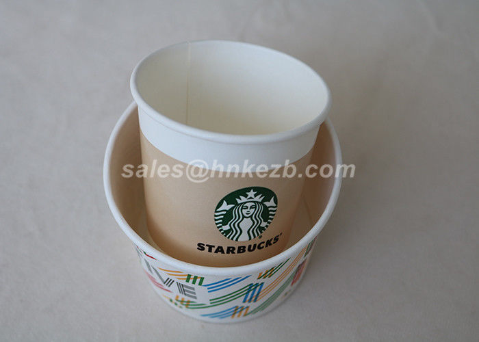 OEM 6oz Starbucks Customized Disposable Paper Cups For Yourget /  Ice Cream